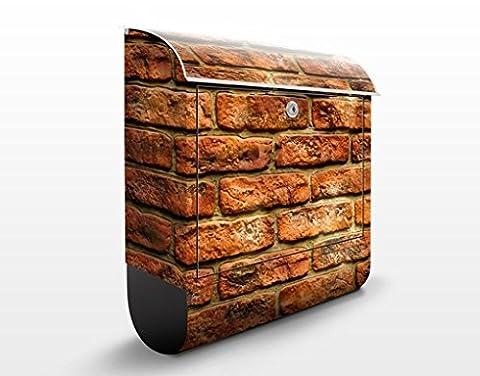 Design Briefkasten Bricks | Natur Steine Mauer Ziegel Alt, Postkasten mit Zeitungsrolle, Wandbriefkasten, Mailbox, Letterbox, Briefkastenanlage, Dekorfolie