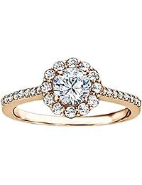 Silvernshine 1.49 CT White Cubic Zirconia Diamond 14k White Gold Plated Halo Engagement Wedding Ring