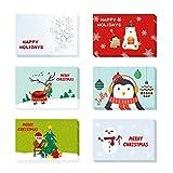 24 Pezzi Cartoline di Natale con Buste e Adesivi, Regali Natale Decorazioni, 6 Disegni Diversi (colore)