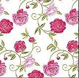 20 Servietten Pfingstrose Rose Vintage Blumenmuster Blumenmotiv Sommer Pink Roses White Rose rosa lila Blumenmotiv Aquarell Vintage 33 x 33cm