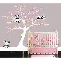 Bdecoll Decorativo para Pared Vinilos Arbol Decoraciones Del Arte con flores de rosa-2.2*1.8m Decoración habitación bebé/niños (Blanco)