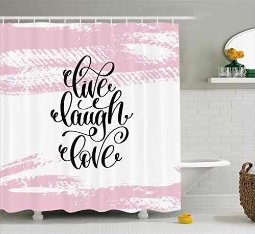 Ambesonne Live Laugh Love Shower Curtain Abstract Pink Toned Brush Strokes Backdrop With Hand Lettering