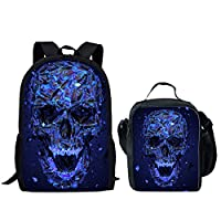 HUGS IDEA Skull Backpack with Lunch Bag Set Lightweight Kids School Shoulder Bags