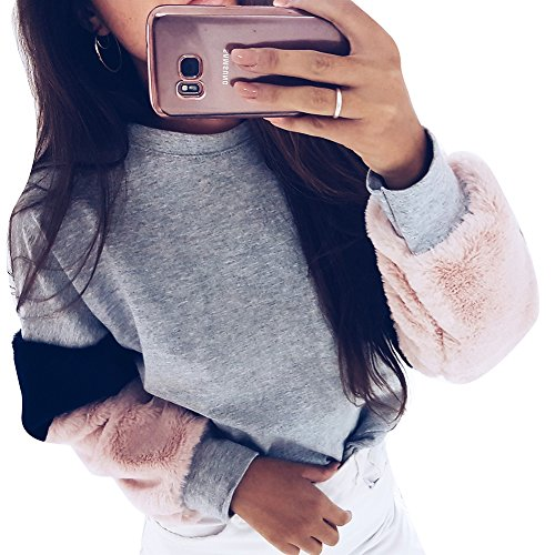 Juleya Winter Sweater for Women - Fashion Spliced Color Sleeves Pullover Faux Fur Patchwork Sweatshirts Casual Long Sleeve Warm Sweater Coat S-XL 3