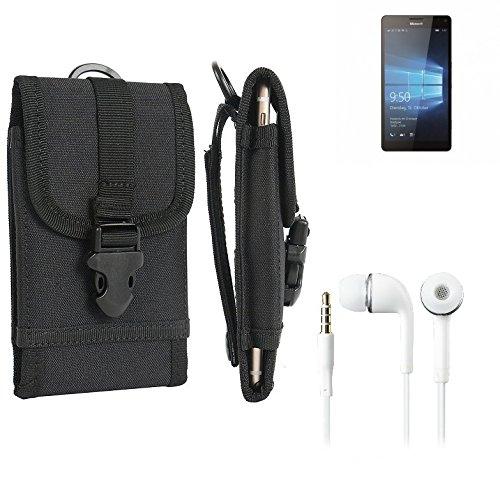 K-S-Trade Für Microsoft Lumia 950 XL Gürteltasche Gürtel Tasche Schutzhülle extrem Robuste Handy Schutz Hülle Smartphone Tasche Outdoor Handyhülle für Microsoft Lumia 950 XL schwarz + Kopfhörer