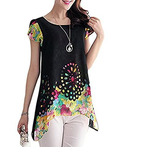 Romacci Women Chiffon Loose Blouse O Neck Floral Print Hollow Out Overlay Petal Sleeves T Shirt Tops Multicolor,S-XXL