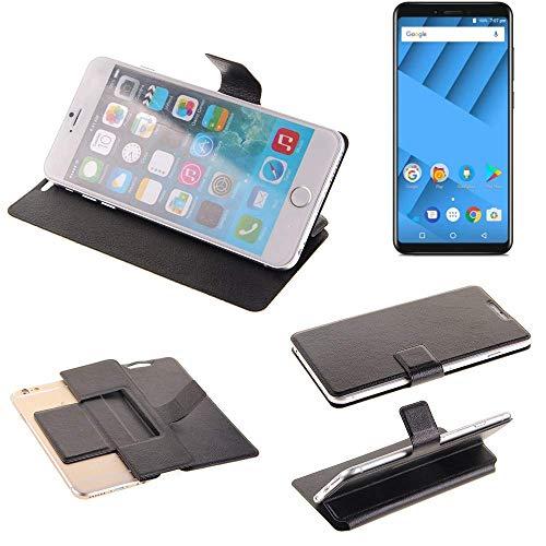 K-S-Trade Schutz Hülle für Vernee M6 Schutzhülle Flip Cover Handy Wallet Case Slim Handyhülle bookstyle schwarz