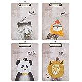 Millya Lot de 4A4Lovely Modèle Animal en bois bloc-notes Conference Porte-documents Business Portfolio Merlan Pad taille unique Pack of 4