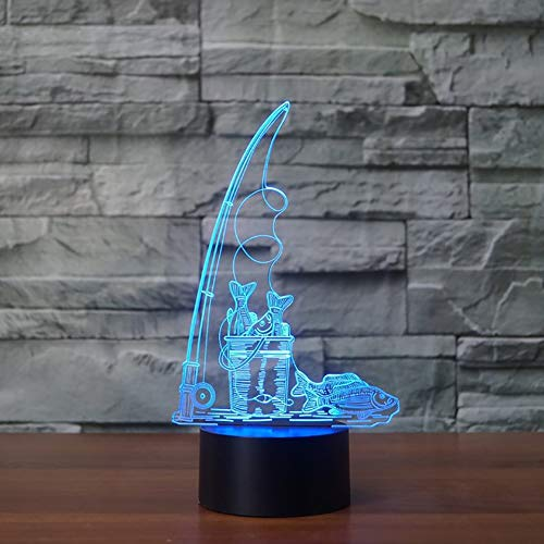 3D Nachtlicht, Nachtlampe, Nachtlicht, Tisch Schreibtischbeleuchtung, Kreative USB Angelwerkzeuge Modellierung Nachtlicht 7 Farben Visuelle Baby Schlaf Tischlampe LED Wohnkultur Leuchte Kind Geschenk