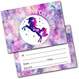 Birthday Party Invitations Unicorn Pack of 20 Invites & Envelopes