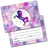 Birthday Party Invitations Unicorn Pack of 20 Invites & Envelopes