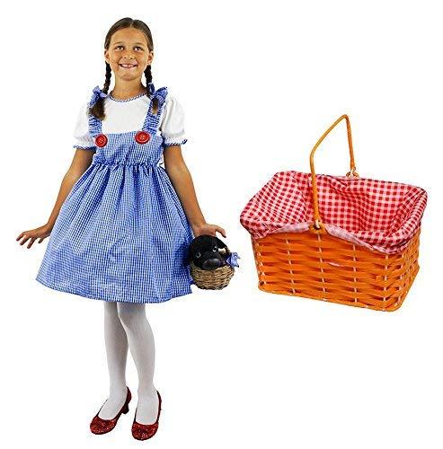 Mädchen Dorothy Kostüm mit Gingham Korb ideal für Schule Buch Woche und Welt Buch Tag für Kinder erhältlich in Größen S-XL | Alter 5-14Jahre