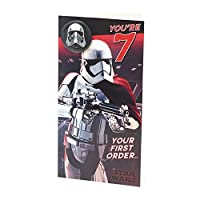 Age 7 Birthday Card - Star Wars with Birthday Card with Birthday Badge, 7th Birthday, Star Wars Storm Trooper, Ideal Gift Card for Kids - Star Wars Episode 8