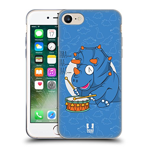Head Case Designs Piano T Rex Dino Musikeros Cover Morbida In Gel Per Apple iPhone 7 / iPhone 8 Tricero Taps