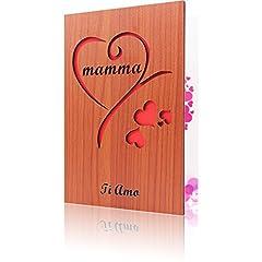 Idea Regalo - CREAWOO Biglietto Auguri per La Festa della Mamma in Legno Intagliato-Un Pensiero Speciale per ogni Mamma per Compleanno e Altre Occasioni Speciali
