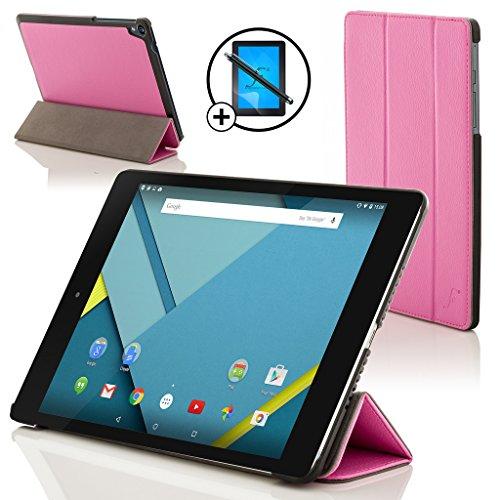 Forefront Cases® Google Nexus 9 8.9 Zoll Hülle Schutzhülle Tasche Bumper Folio Smart Case Cover Stand - Rundum-Geräteschutz und intelligente Auto Schlaf / Wach Funktion inkl. Eingabestift und Displayschutz (ROSA)