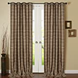 "Deco Window 2 Piece Eyelet Door Curtain with white lining 52""X90""-Beige/Black"