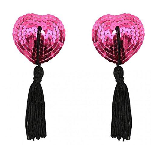Creamlin Sequin Pasties für Womens Lingerie Brust Blütenblatt Pasty Kleber wiederverwendbar mit Quaste (Hotpink) (Pailletten-cover)
