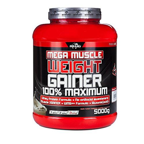 BWG Mega Muscle Weight Gainer 100% Maximum - perfekt für HardGainer und Massephasen - Kraftaufbau - Mega Chocolate - Dose mit Dosierlöffel - (1x 5000g Dose) -