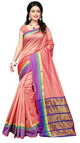 Indian Fashionista Women's Uppada Silk Solid Saree With Blouse Piece - NRPT1128F_Orange_Free...