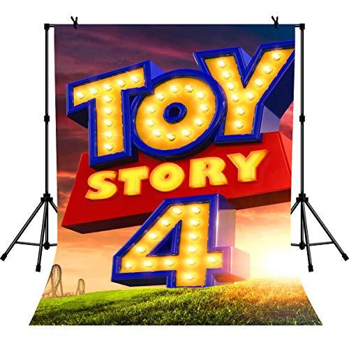 EdCott 5x7ft Toy Story 4 Banner Party Supplies Geburtstag Dekorationen von Toy Story Fans Hintergrund für Kinder Hintergrund - Inkjet-speicher