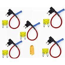 Inibud - Adaptador para minifusibles planos para toma de tensión de coche (4 unidades -