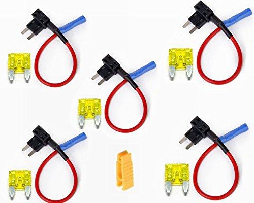Preisvergleich Produktbild Flachsicherungsadapter Flachsicherungen Stecksicherung (5er pack und 20A Sicherung)
