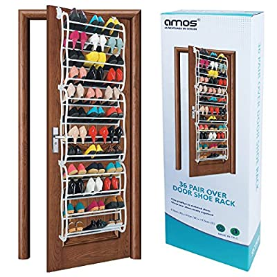 AMOS 36 Pair Over the Door Hanging Hook 12 Tier Shoe Rack Adjustable Shelf Organiser Holder Storage Stand Space Saving