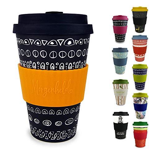 Morgenheld Dein trendiger Bambusbecher | Coffee-to-Go-Becher | Kaffeebecher mit Schraubdeckel und Banderole in coolem…
