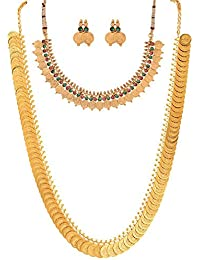 Zeneme Red Green Coin Copper Jewellery Set For Women