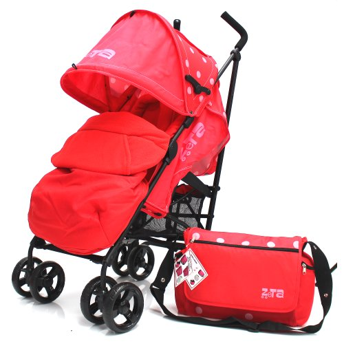 Zeta Vooom Warm Red (DOTS Complete + Changing Bag) With Footmuff Head Support And Rain Cover