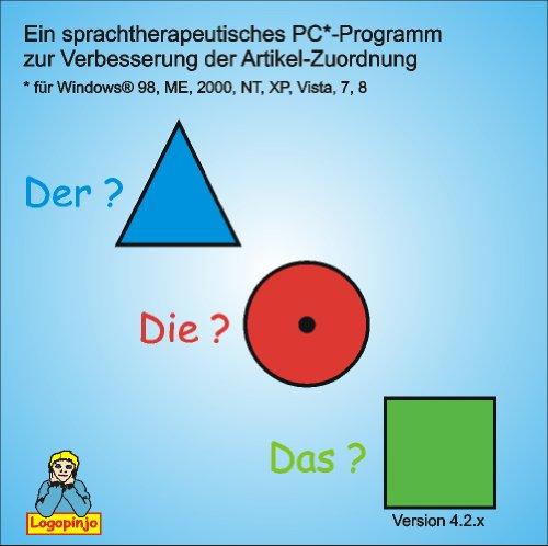 DER-DIE-DAS - ein sprachtherapeutisches Programm  zur Verbesserung der Artikelzuordnung (Windows XP, Vista, 7, 8, 10)