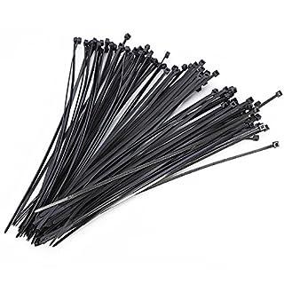 AUAUDATE 100pcs 3x200mm, die Selbstschliessend Nylon Faden Zip Kabel Tie Wire Kabelstrapse Straps Kabelbinder