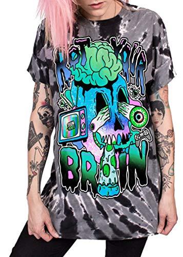 Ocean Plus Unisex 3D Druck Graffiti Alien T-Shirt Loose Fit Wild Verrückt Wahnsinn Tee Shirt Tops (XXL/3XL, 039 Your Brain)