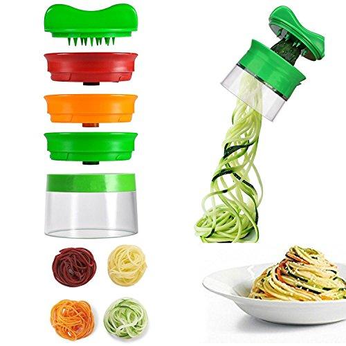 Spiralizzatore di verdura con 3 lame , ohadani affettatrice multifunzione, tritacarne a spirale vegetale per il taglio di cetrioli e patate