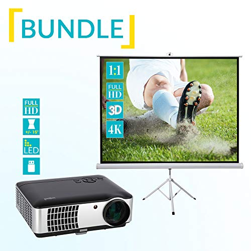Heimkino Set - ivolum Stativleinwand 200x200cm inkl. LED Beamer - Heimkino-Bundle - ivolum Stativleinwand + HBP-3000 Full-HD-LED Beamer Hd Bundle