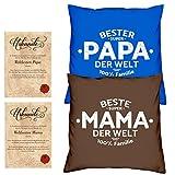 Soreso Design Hochzeitstag Geschenk für Mama und Papa -:- 2 Kissen mit Füllung plus 2 Urkunden im Set -:- Beste Mama der Welt in braun - Bester Papa der Welt in royal-blau