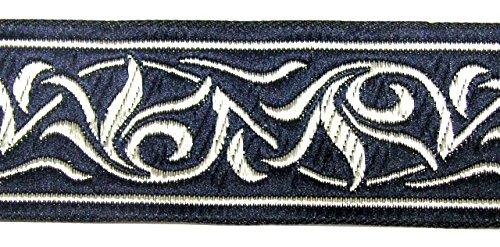 10m Renaissance Fleur Borte Webband 35mm breit Farbe: Dunkelblau-Silber von 1A-Kurzwaren ()