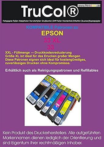 5 Kompatible Wiederbefüllbare leere Patronen ARC (mit Autoresetchip) ( 1 Set – Alle Farben ) zu Epson 33xl Schwarz Cyan Magenta Yellow Fotoschwarz Tintenpatrone mit Hohe Kapazität schwarz : 24ml ; Farben : 12ml kompatibel zu XP-640 XP-540 XP-530 XP-630 XP-830 XP-635 XP-645 XP-640 XP-630 (24 Kompatible Tintenpatrone Schwarz)
