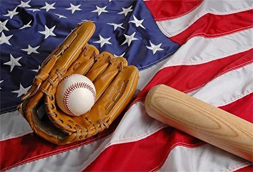 Cassisy 1,5x1m Vinyl Sport Fotohintergrund Amerikanische Flagge Wallpaper Amerikanischer Fußball Baseball Handschuhe Fotoleinwand Hintergrund für Fotoshoot Fotostudio Requisiten Party Photo Booth