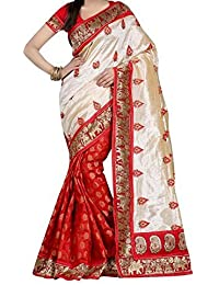 Harikrishnavilla Women's Silk Cotton Saree With Blouse Piece (Br-Silki Red, Free Size)