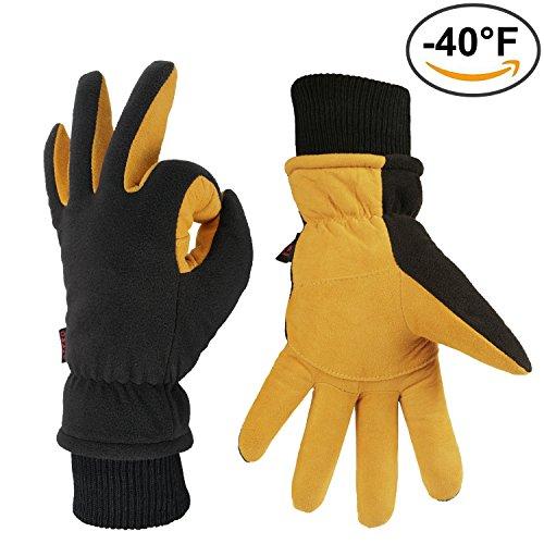 OZERO Winter Handschuhe Schwarz, -40°F Kälteschutz Snow Arbeit Ski Handschuh mit Elastischer Stulpe - Hirschleder Veloursleder Palme und...