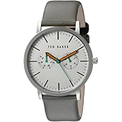 Ted Baker Men's TE1093 Multi-Function Silver Dial Grey Leather Strap Watch