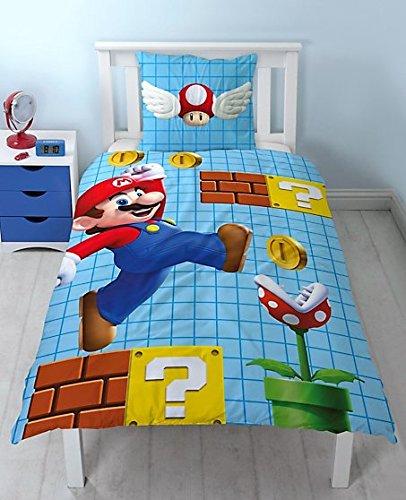 Nintendo Super Mario Bettwäsche Wendemotiv 2 tlg. 80x80 + 135x200 cm - 100 % Baumwolle - NEU