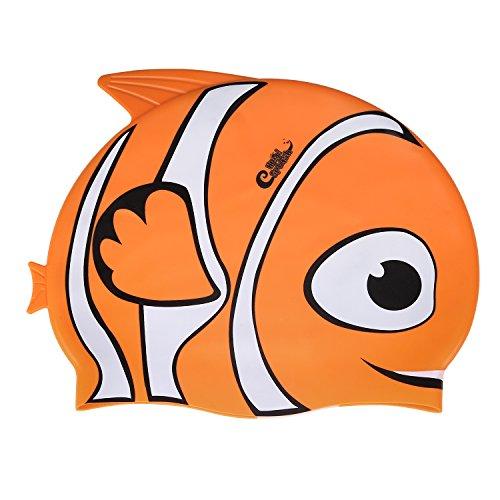 HeySplash Kinder Badekappe Cap Schwimmkappe Spa Winter süß Bademütze aus 100% Silicon ,Super Stretch Perfekt Fit Wasserdichte , Orangee