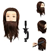 Training Head Man,MINLIDAY Man Mannequin Head 100% Real Human Hair With Beard Cosmetology Hairdresser Training Head Manikin Head Doll Training Model with Free Clamp For College and Professional Use