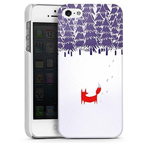 Apple iPhone 5s Housse Étui Protection Coque Forêt Renard Art CasDur blanc