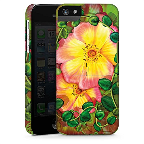 Apple iPhone 7 Tasche Hülle Flip Case Blume Blüten Efeu Premium Case StandUp