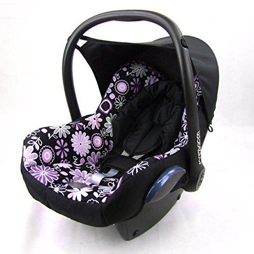 Babys-Dreams Ersatzbezug für Maxi-Cosi CabrioFix 6 tlg. SCHWARZ + LILA BLUMEN *NEU* Bezug für Babyschale Sommerbezug Cabrio Fix