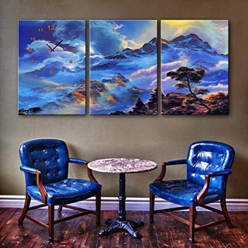 Ibuprofen Moderne Wohnzimmer Esszimmer Uhr Leinwand Dekorative Malerei Triple Wanduhr Landschaft Serie Enthält Rahmen, Uhren und Gemälde, 3PCS, 50x70 cm 60c-serie